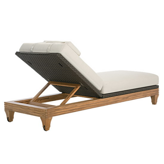 Teak Furniture Tessuto Tessuto Chaise Lounge