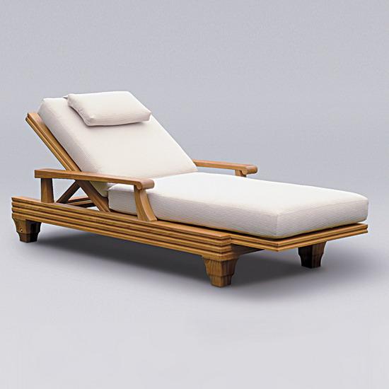 Sunbrella Fabric Deluxe Chaise Lounge Cushion Oceanic Teak